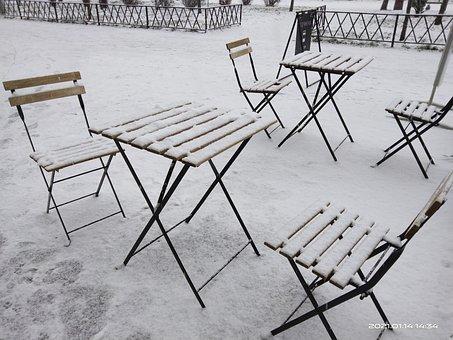 Weather, Snow, Precipitation, Cafe, Tables, Blizzard