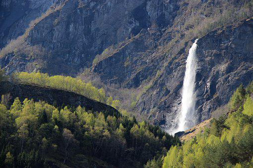 Mountains, Waterfall, Cascade, Stream, Flow, Norway