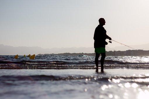 Man, Fishing, Beach, Silhouette, Sunset, Sunlight
