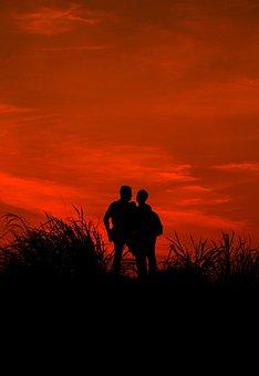 Silhouette, Sunset, Sun, Nature, Love, Couple
