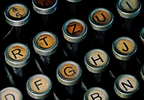 Typewriter Keyboard, Writer, Keyboard, Writing, Retro