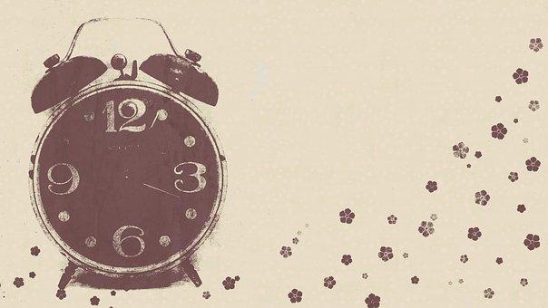 Alarm Clock, Vintage, Wallpaper, Flowers