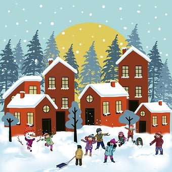 Children, Kids, Snow, Games, Snowman, Cold, Winter