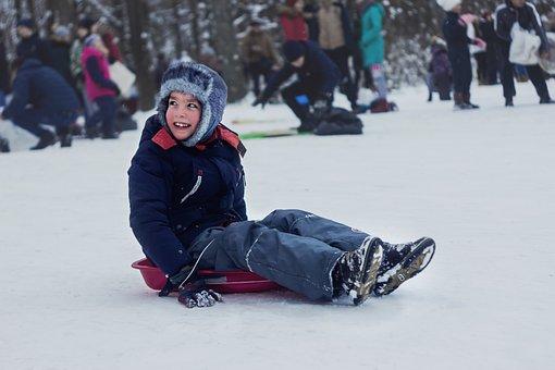 Kid, Winter, Sled, Sledding, Winter Clothing, Snow