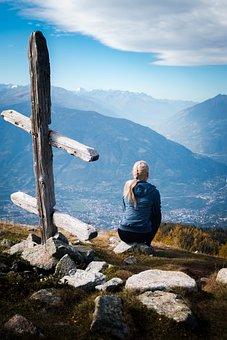 Woman, Hiking, Mountain, Girl, Person