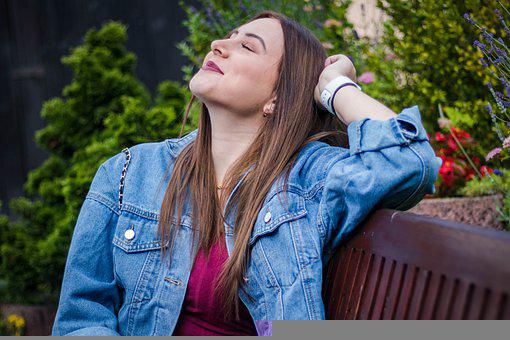 Woman, Smiling, Bench, Smile, Happy, Girl, Person