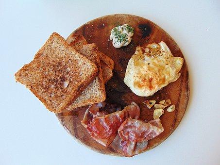 Breakfast, Ham, Eggs, Wood, Table, Mayonnaise, Simple