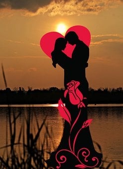 Sunset, Lovers, Lake, Love, Affection, Romance