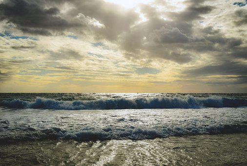 Beach, Waves, Shore, Seashore, Clouds, Sky, Ocean Waves