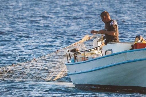 Fisherman, Boat, Net, Man, Fishing Net, Fishing Boat