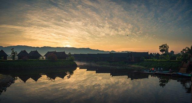 Dawn, Inle Lake, Myanmar, Nature, Sky, Burma, Peace