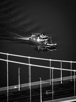 Ship, Bridge, Car, Boat, City, River, Landscape