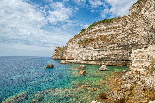 Corsica, Bonifacio, Cliffs, Sea, France, Nature