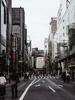 Buildings, Street, Road, Crowd, People, Urban, Shops