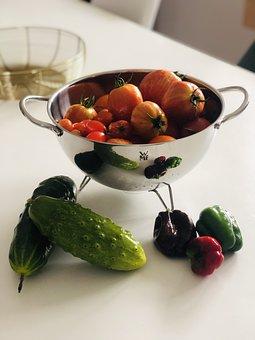 Cucumber, Tomatoes, Vegetables, Salad, Eat, Food, Onion