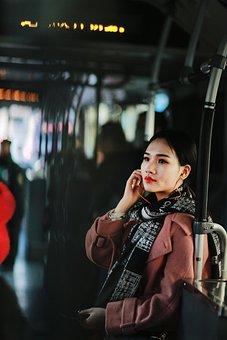 Woman, Passenger, Bus, Traveler, Girl, Female, Person