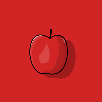 Apple, Flat, Red, Apples, Fruit, Simple