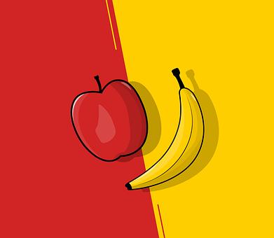 Apple, Banana, Versus, Fruit, Battle, Flat, Simple, Red