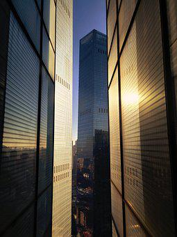 China, Dalian, City, Winter, Color, Glass, Building