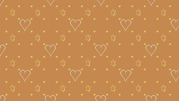 Stars, Hearts, Pattern, Star Of David, Magen David