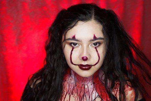 Clown, Dark, Girl, Horror, Halloween, Woman, Evil