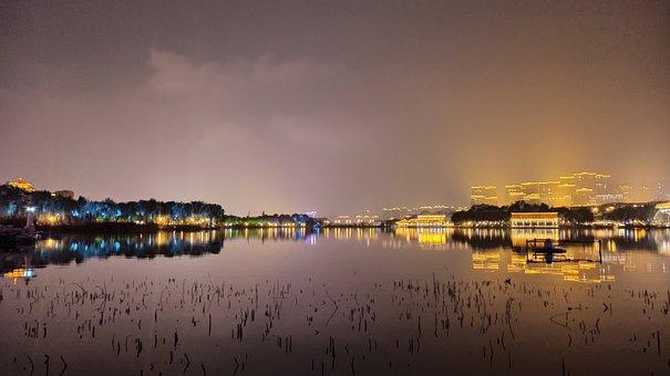 Lake, City, Illuminated, Night Sky, City Lights