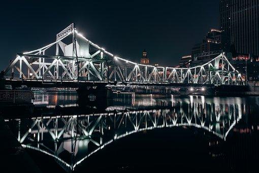 Bridge, Liberation Bridge, Illuminated, River