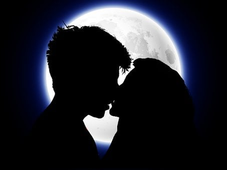 Couple, Lovers, Moon, Kiss, Affection, Romantic, Scene