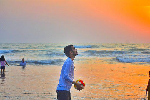 Beach, Ball, Man, Play, Playing Volleyball, Volleyball