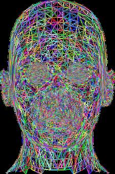 Man, Head, Low Poly, Geometric, 3d, Wireframe, Polygons