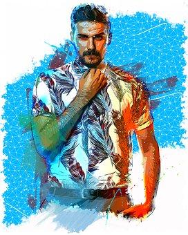 Man, Male, Portrait, Model, Person, Handsome, Photo Art