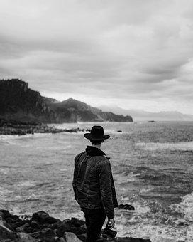 Man, Sea, Ocean, Coast, Viewpoint, Shore, Seashore