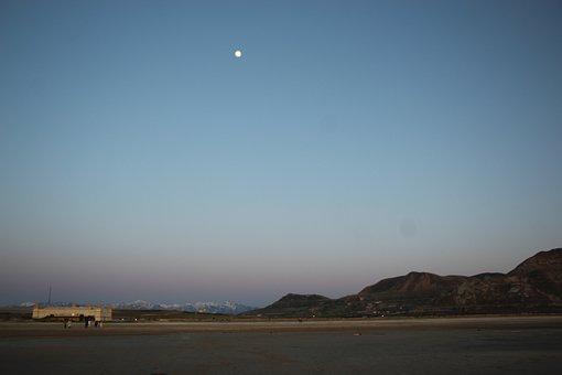 Utah, Moon, Desert, Night, Landscape, Mystical, Usa