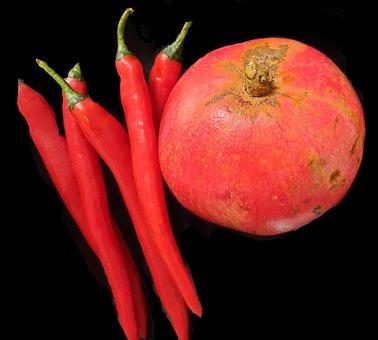 Chili, Pomegranate, Pomegranates, Food, Natural