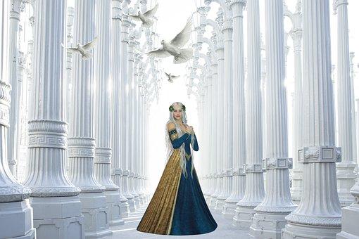 Princess, Pigeons, Doves, Palace, Columns, Pillars