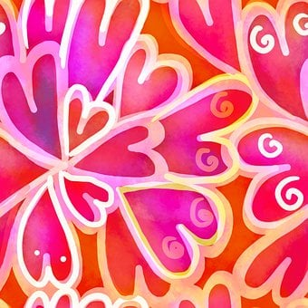 Seamless, Pink, Love, Hearts, Abstract, Watercolor