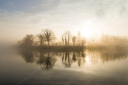 Sun, River, Waters, Mirroring, Morning, Fog, Landscape