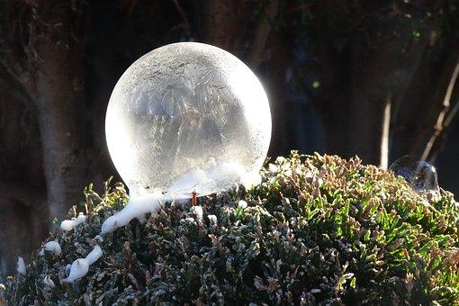 Winter, Soap Bubbles, Frozen