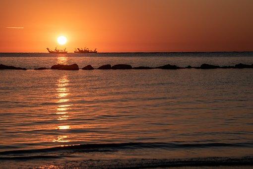 Sunset, Ship, Sea, Silhouette, Sun, Sunlight