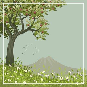 Illustration, Frame, Tree, Fruit, Stylized, Flowers
