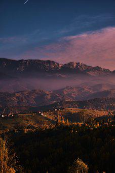 Mountains, Houses, Trees, Cabin, Forest, Village, Sky