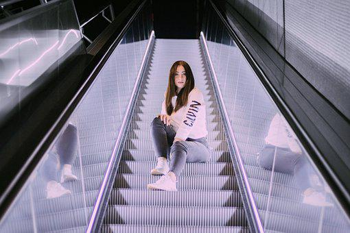 Woman, Fashion, Escalator, Girl, Person, Beautiful