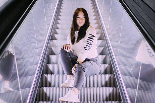 Woman, Fashion, Escalator, Girl, Person, Hoodie