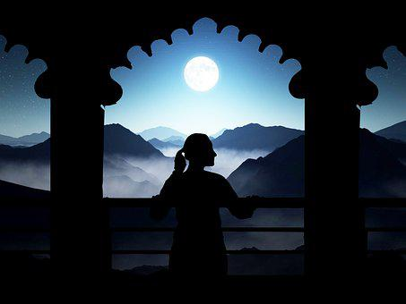 Woman, Balcony, Profile, Moon, Mountains, Night, Scene