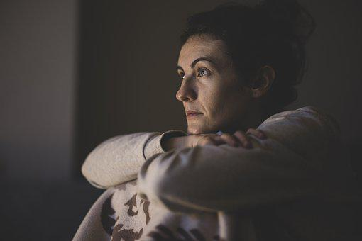 Portrait, Woman, Watch, Watching Tv, Girl, Unhappy