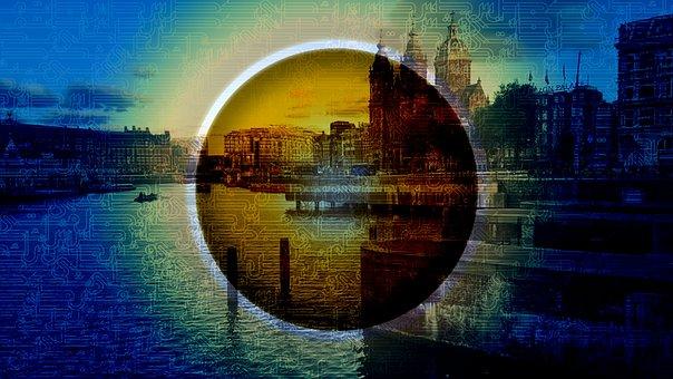 Planet, City, Urban, River, Channel, Amsterdam, Art