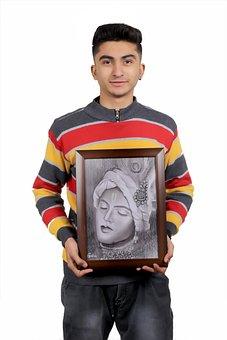 Man, Artist, Sketch, Artwork, Krishan Ji, Krishna Ji