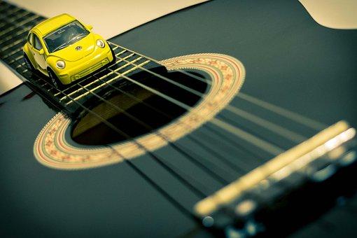 Guitar, Car, Vw, Beatles, Art, Conceptual, Concept