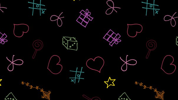 Gift, Cube, Star, Heart, Ribbon, Kite, Black, Colorful