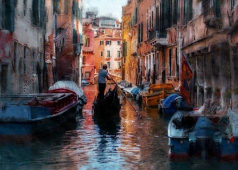 Venice, Boats, Photo Art, Rowing, Gondola, Canal